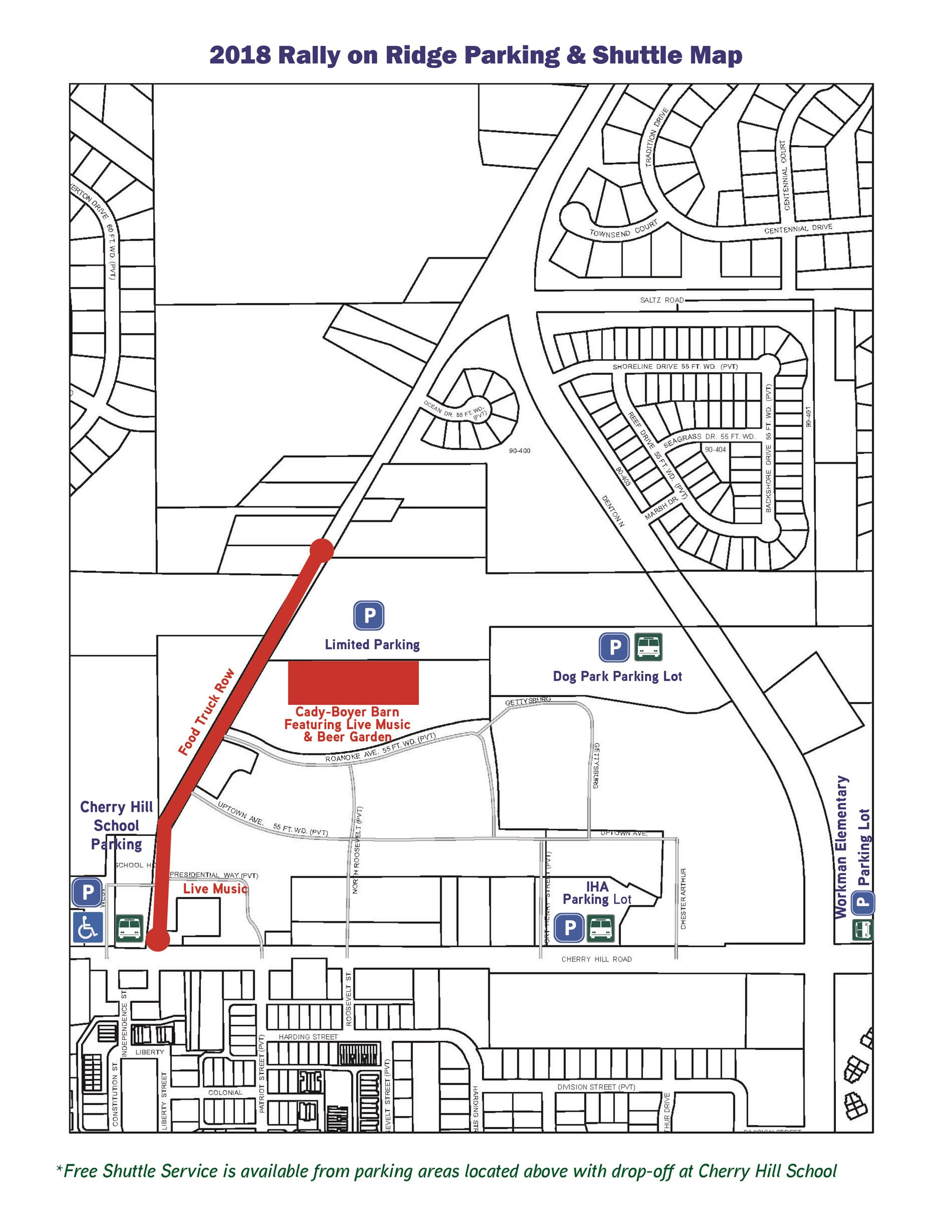 Rally on Ridge Parking and Shuttle Map 2018